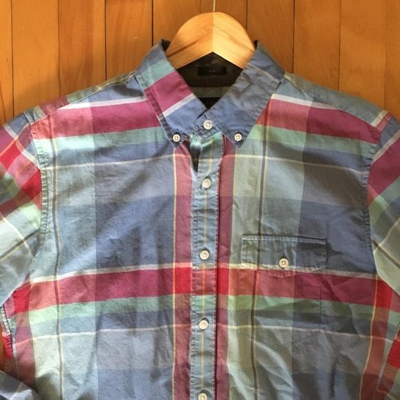 08ef786b J. Crew Shirts | Jcrew Slim Indian Cotton Shirt Serene Blue Plaid ...